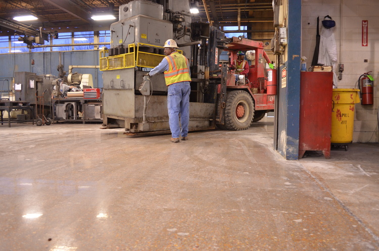 Mechanically Polished Concrete Handles Industrial Forklifts